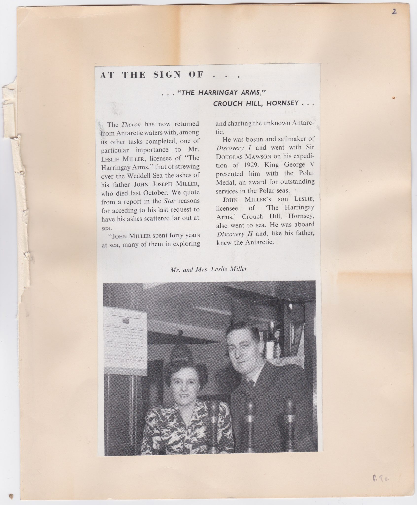 Trade publication article from circa 1956 about the Harringay Arms, London.