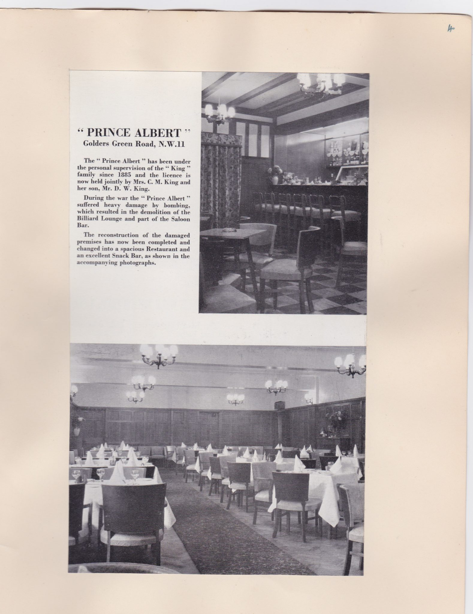 Prince Albert Pub Golders Green Road 1956