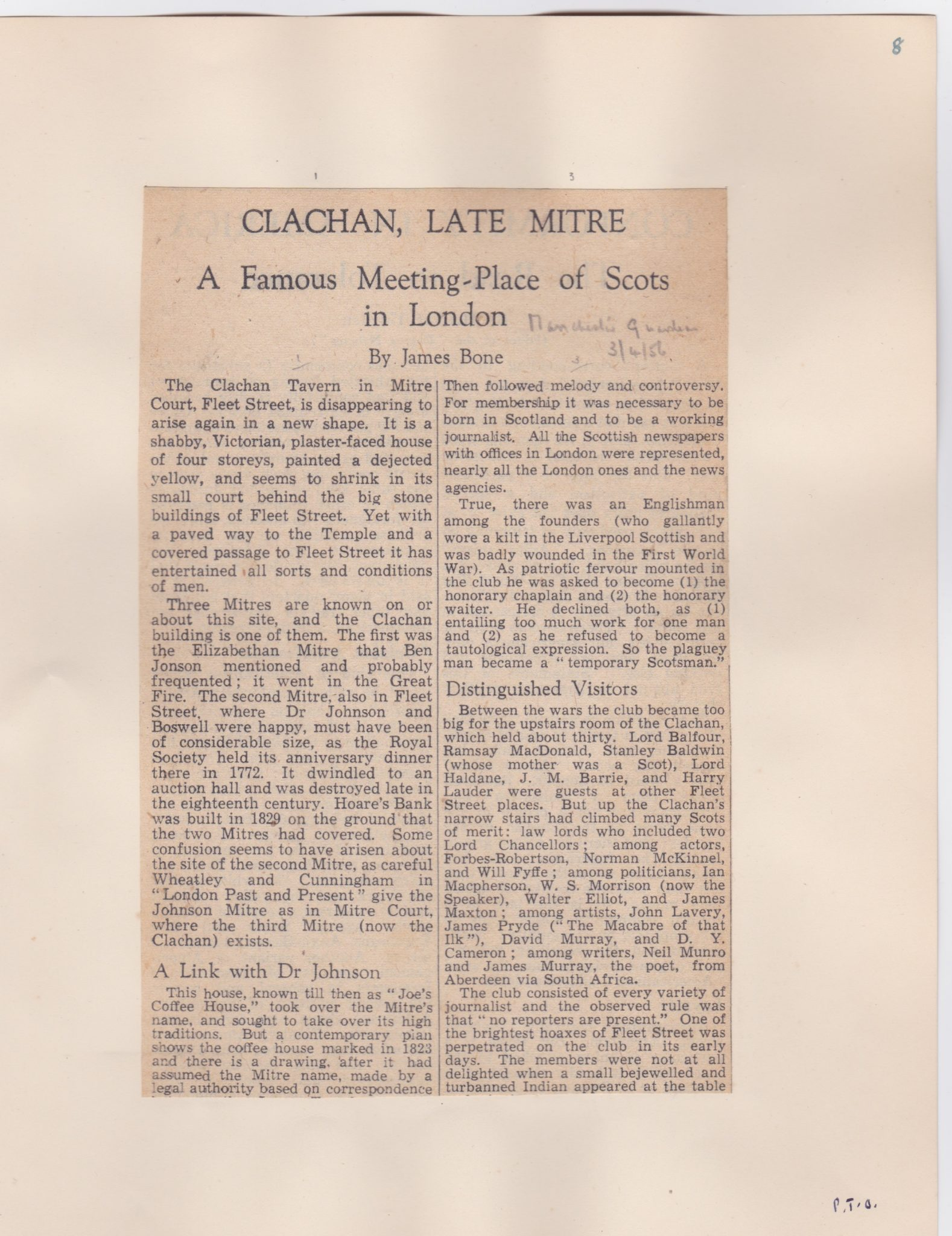 An article from 1956 about the pub called The Clachan formerly known as The Mitre
