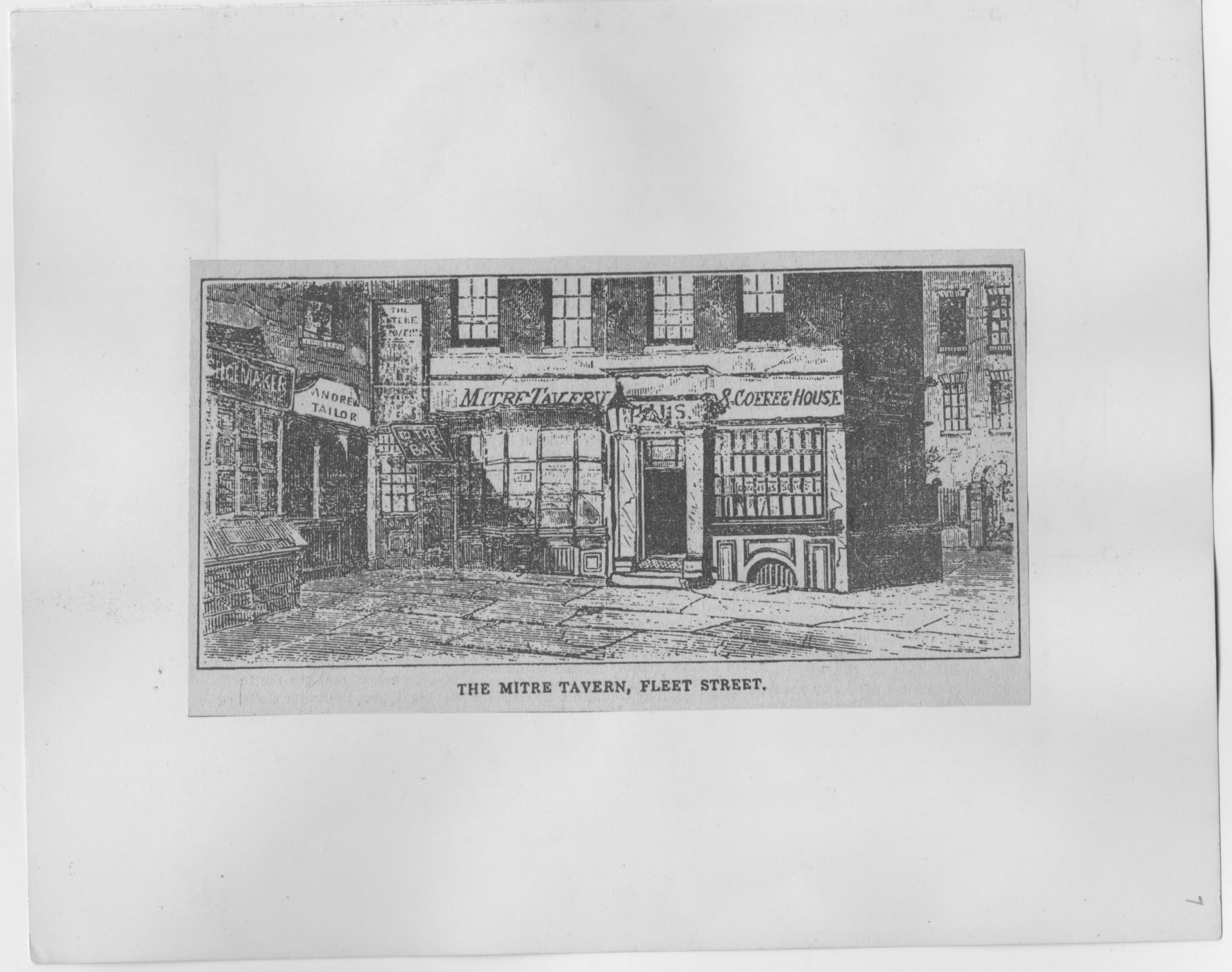Victorian drawing of The Mitre Tavern Fleet Street London