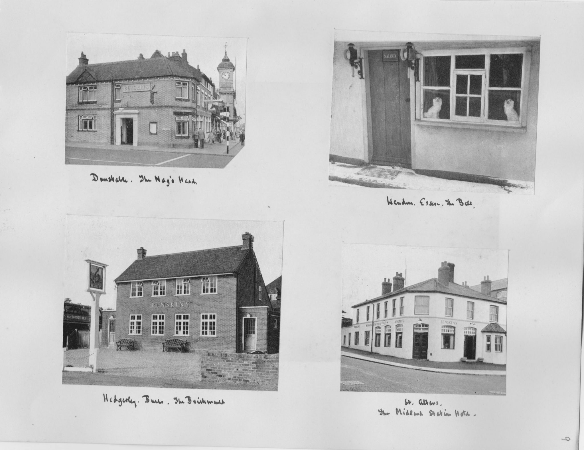 Black and white pictures of four pubs from the 1950s