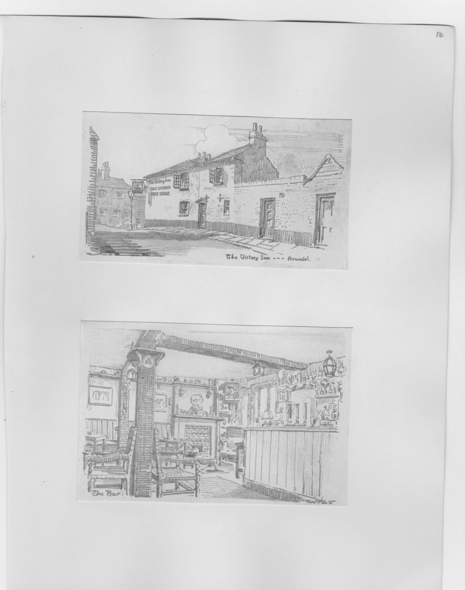 Two old postcards with drawings of old English pubs