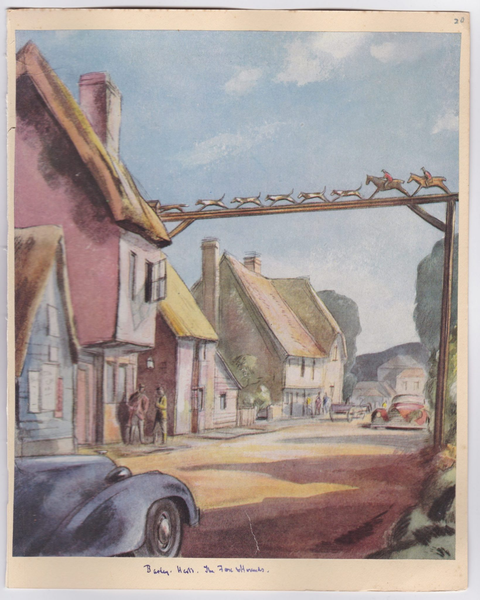 The Fox and Hounds pub shown as a watercolour painting