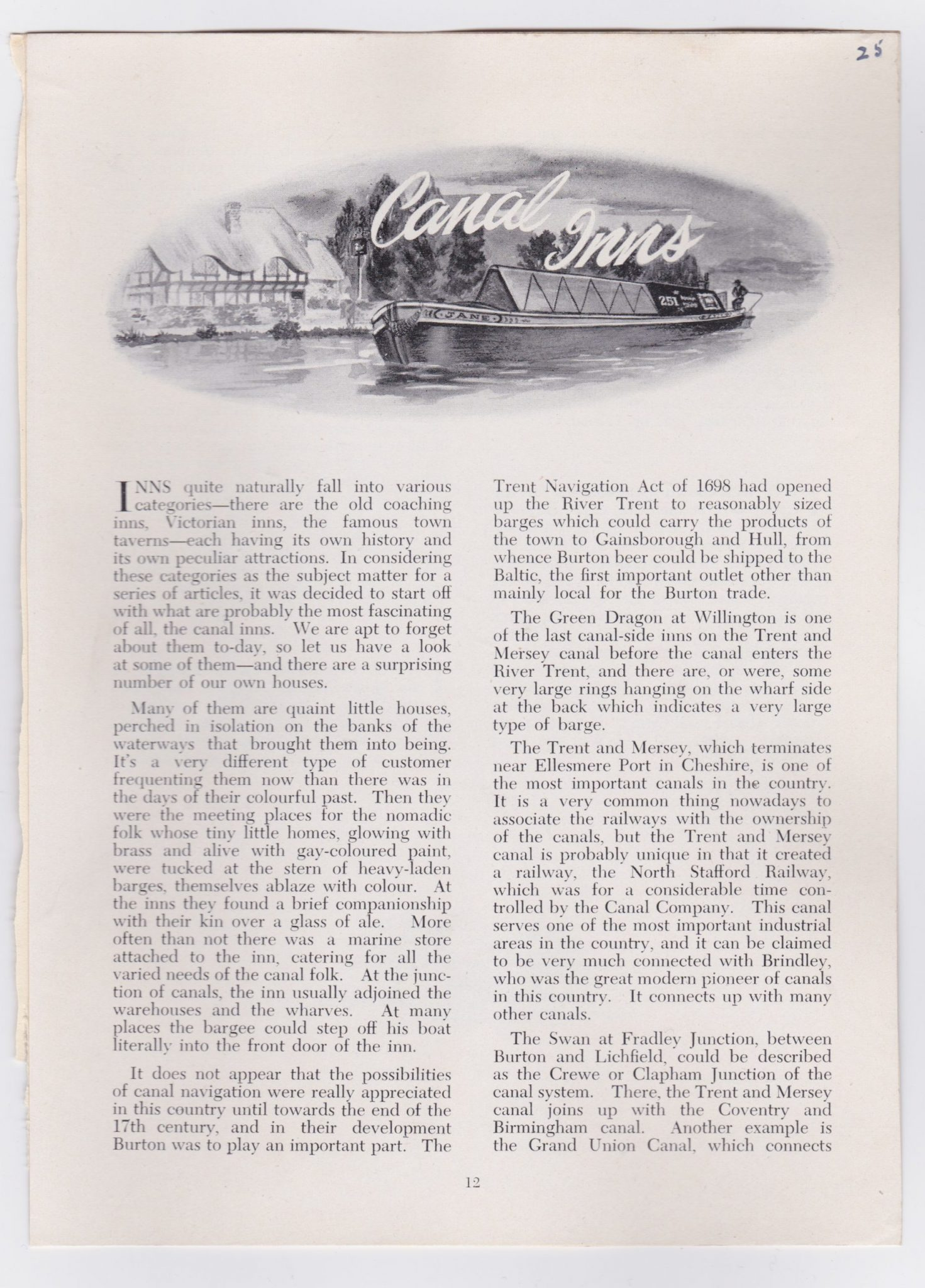 A 1950s article about Canal Inns