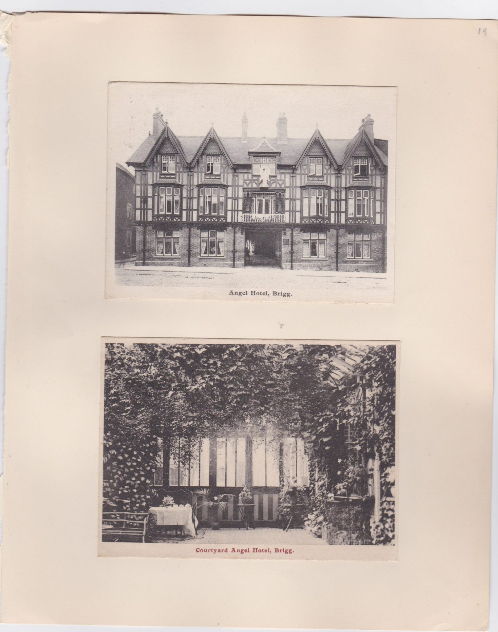Two old postcards showing the Angel Hotel at Brigg