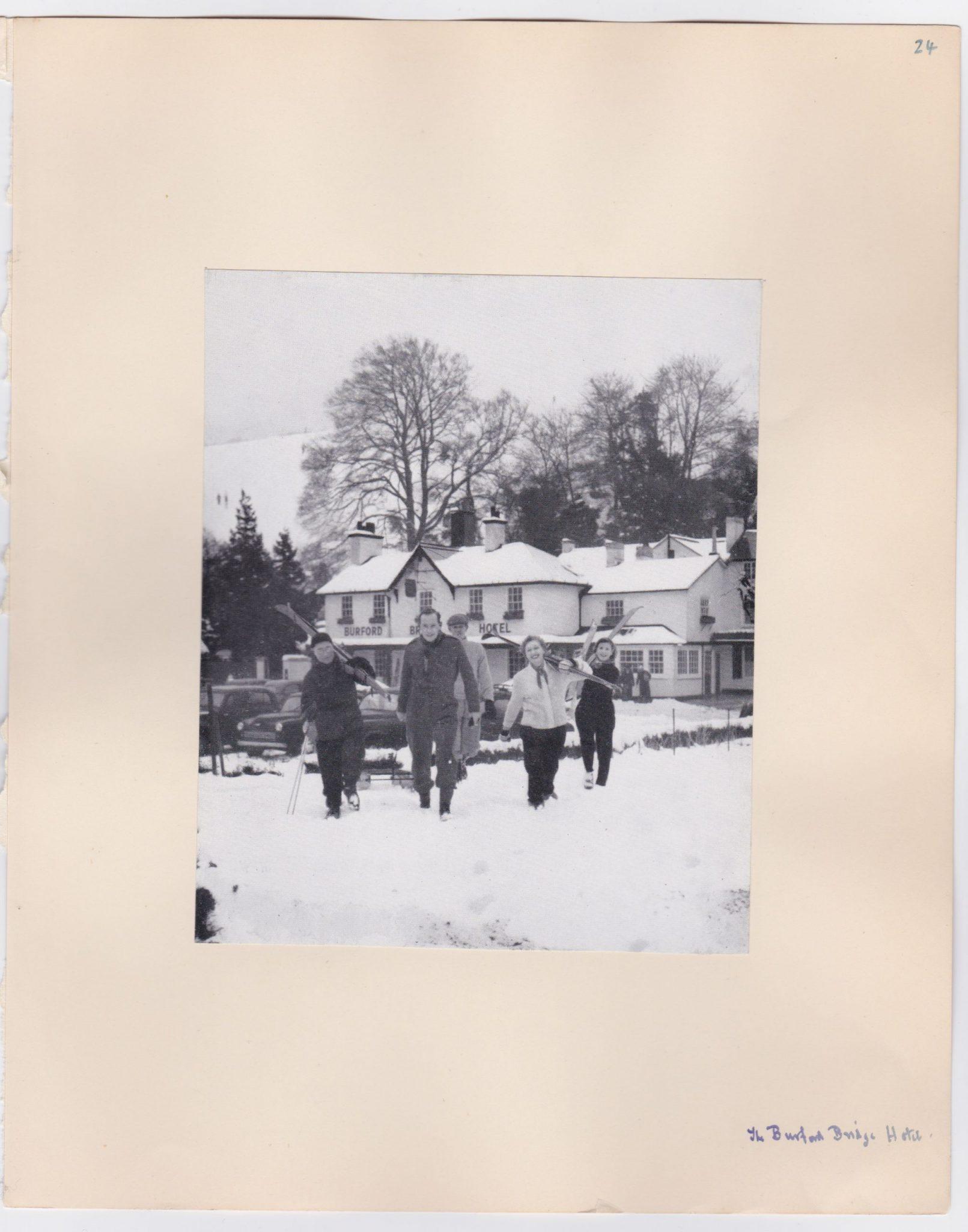The Burford Bridge Hotel snowed in circa 1956