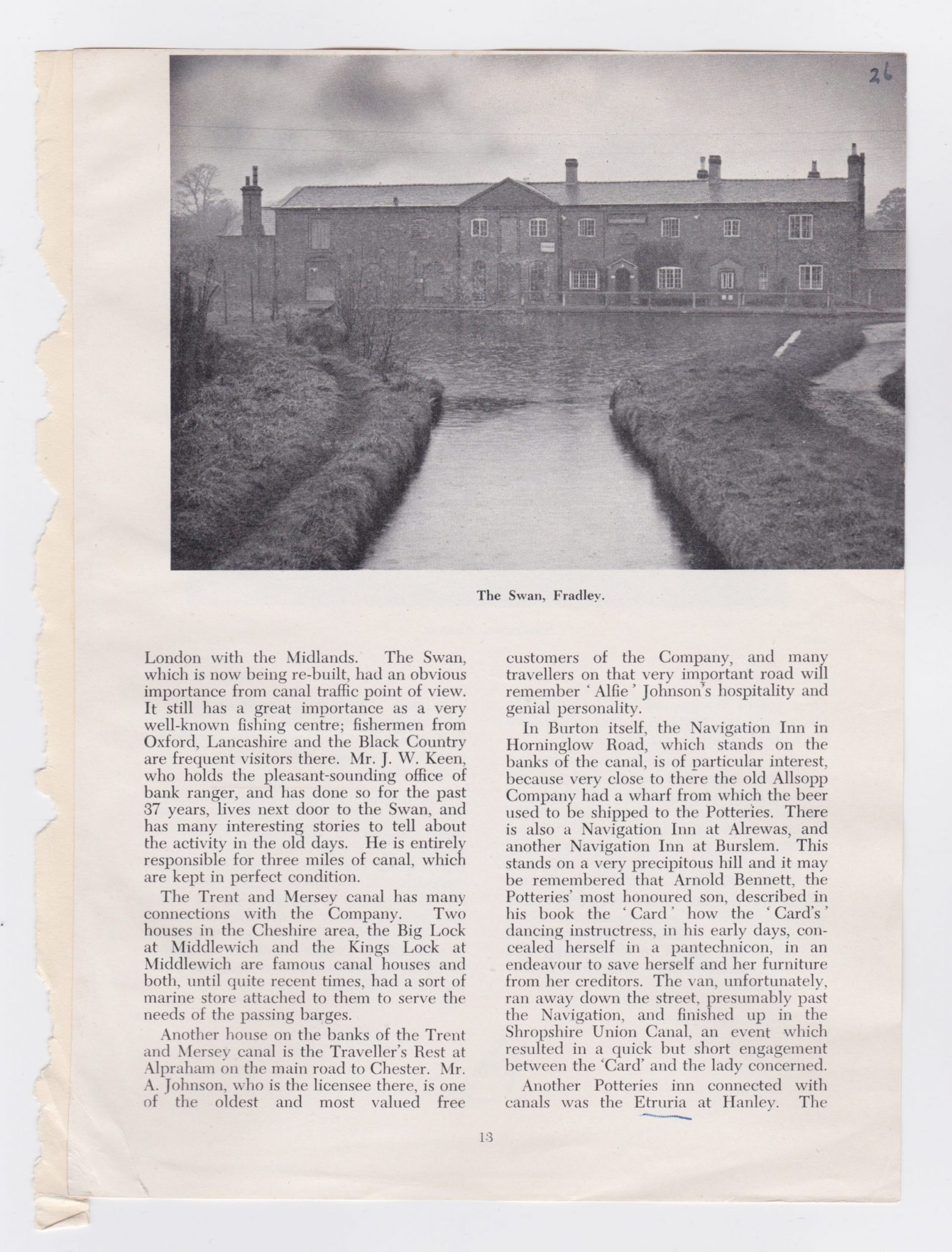continuation of the article on Canal inns featuring The Swah at Fradley