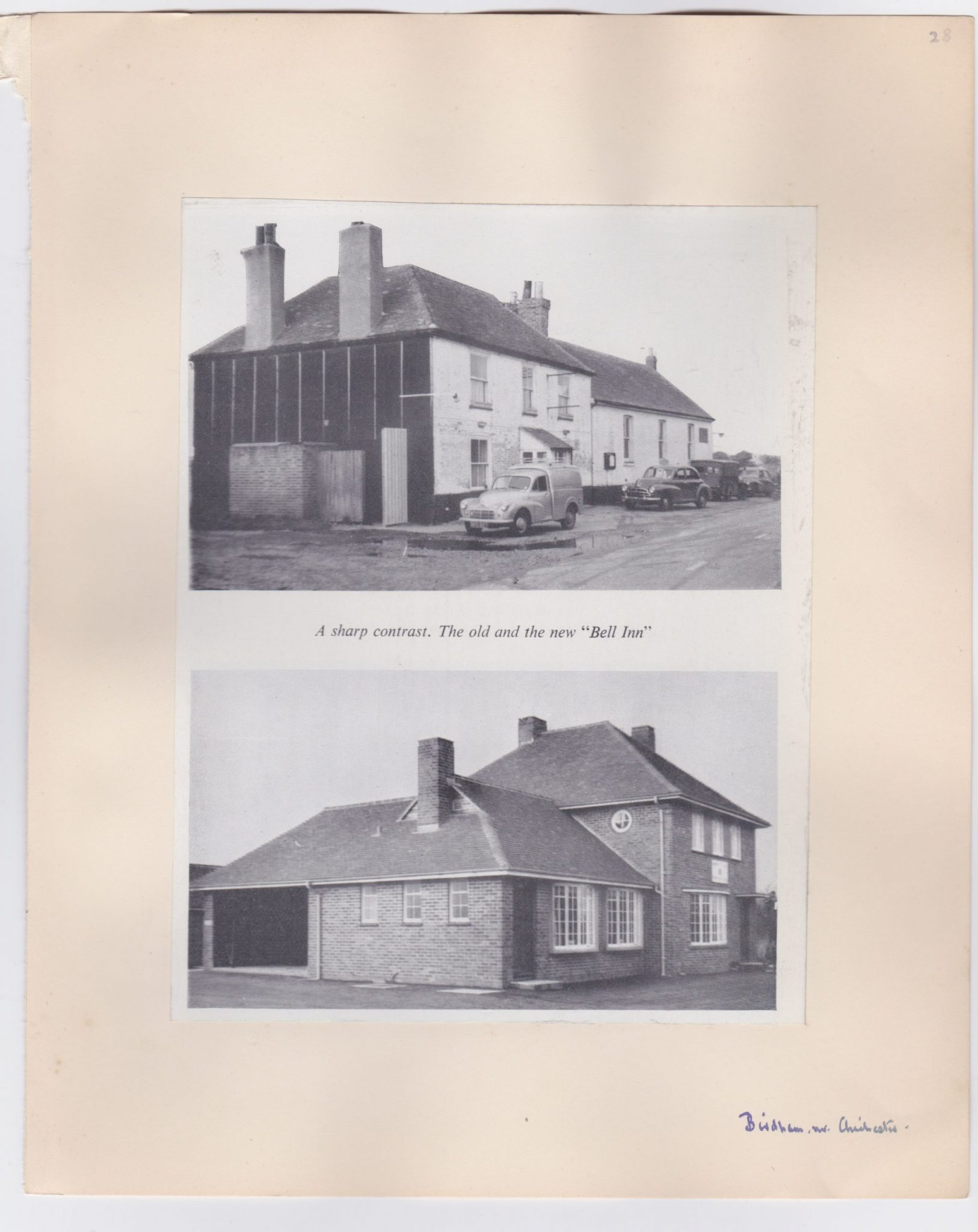 Two circa 1950s photographs of The Bell Inn before and after redevelopment