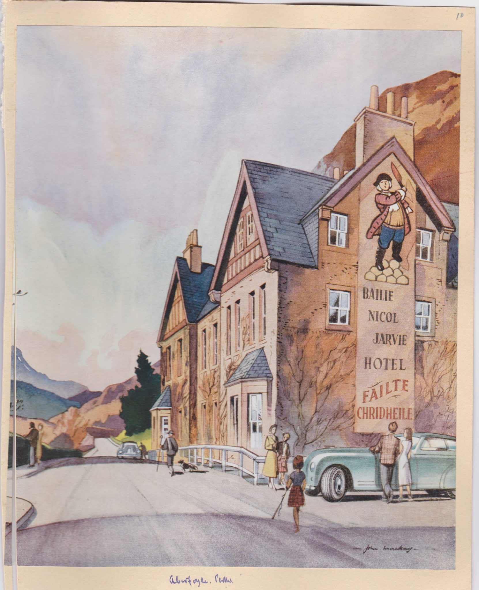 A watercoulour painting of Bailie Nicol Jarvie a Scottish hotel