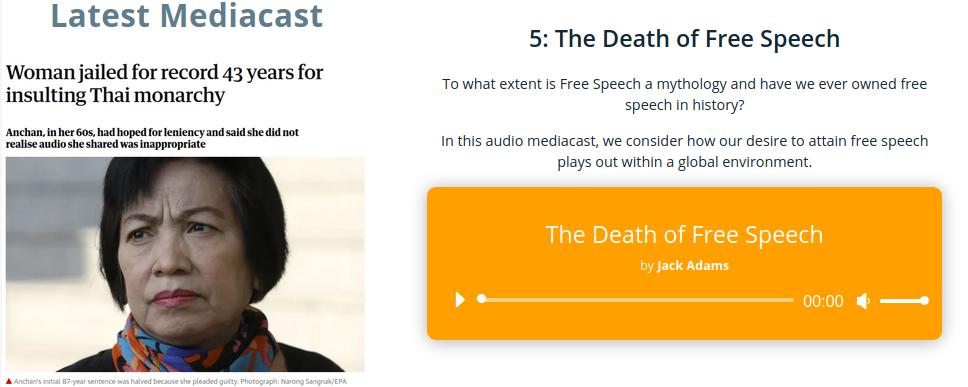 Mythologies. The Death of Free Speech. 1