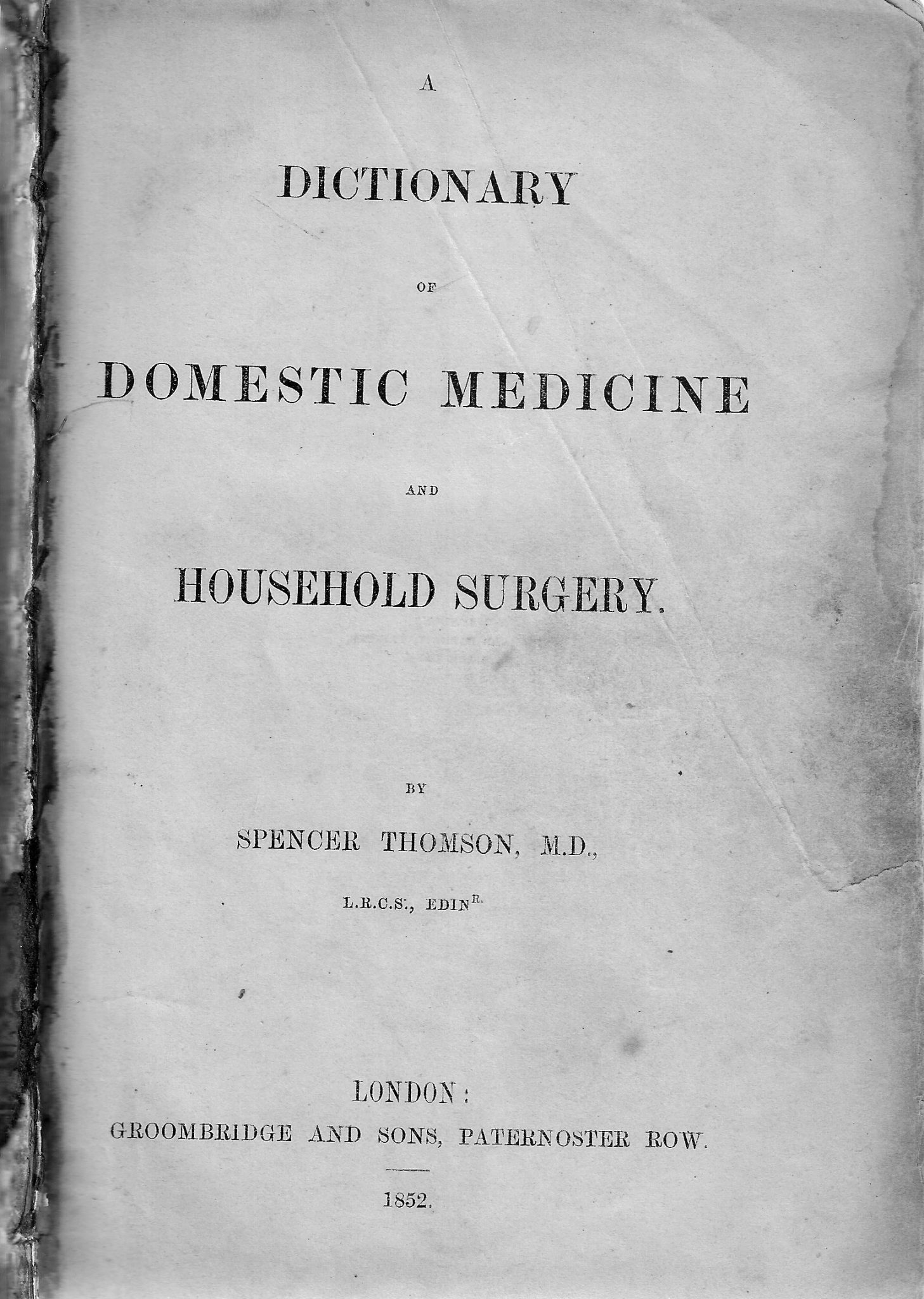 Frontispiece of 1852 book Domestic Medicine and Household Surgery